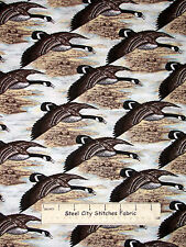 Nature Flying Bird Duck Goose Fly  Cotton Fabric Riverwoods Nostalgic Hunt  YARD