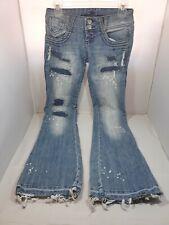 Almost Famous Women's Junior Medium Wash Blue Jeans Size 1 Distressed Pants