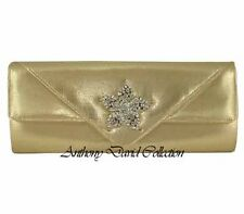 1622aab9ff9 Señoras Oro Metálico Clutch Cartera Noche Bolso Bolso De Mano Con Broche De  Cristal Flor