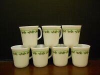 Set of 7 Vtg Corning Milk Glass Corelle Christmas Holly Red Coffee Mugs Cups