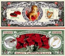 ST VALENTIN ! BILLET de collection DOLLAR US ! Amour I Love You Cadeau Ange Rose