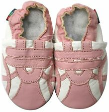 shoeszoo soft sole leather baby shoes sports pink white 18-24m S