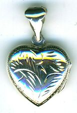 "925 Sterling Silver Engraved Heart Locket Pendant 20mm (3/4"") Diam w/o the bail"