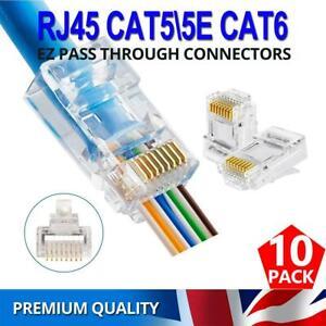 10x RJ45 Cat 5/5e Cat6 EZ PASS-THROUGH Connector Ethernet Network Cable Plug UK