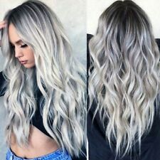 "27"" Synthetic Lace Front Wigs Silver Dark Gray Long Wavy Lace Women Ladies Wig"