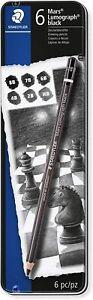 Staedtler 100B G6 Mars Lumograph Pencils Black, Assorted Degrees - Tin of 6