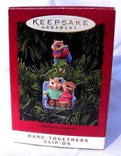 Hallmark Ornament 1994-Mistletoe Surprise-2 Clip-On Chipmunks