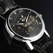 Winner Automatic Stainless Steel Skeleton Roman Numerals Leather Watch - New
