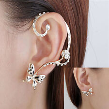 Fashion Womens Butterfly Ear Cuff Clip Stud Crystal Rhinestone Earring Jewelry