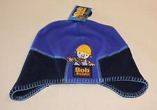 Bob The Builder Boys Navy Blue Embroidered Fleece Long Side Beanie Size 1-3 New