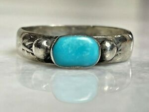 VINTAGE 925 STERLING SILVER TURQUOISE BAND RING SIZE 6