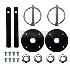 Black Aluminum Hood Pin Kit Flip Over Chevy Ford GM Hot Rod Muscle car Drag Race