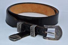 Sterling Silver made in Colorado RMPM Southwestern Belt Buckle Leather Belt S 29