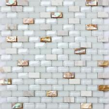 1 Sheet Mother of Pearl , Stone & Glass Mosaic Wall Tile Sheet (MT0148)