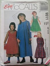 McCall's Sewing Pattern No. 9511 for little girl's size 4,5,6 dress and pinafore