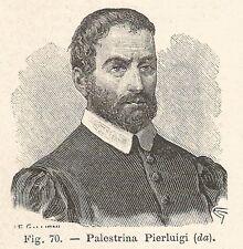 B1008 Giovanni Pierluigi da Palestrina - Xilografia antica del 1929 - Engraving