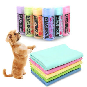 Pet Dog Cat Synthetic Chamois Bath Towel Grooming Drying Cloth Super Absorbent