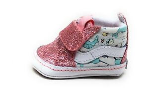 Vans Baby Girls SK8-Hi Crib Shoes Shark Party Pink White Size 1 Infant
