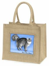 Silver Maine Coon Cat 'Love You Mum' Large Natural Jute Shopping Ba, AC-15lymBLN