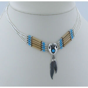 925 Liquid Sterling Silver Blue Sleeping Beauty Turquoise Bear Paw Claw Necklace