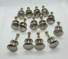 Vintage Lot of 16 Brushed Nickel Silver Round Knobs Drawer Pulls Handles 1 inch