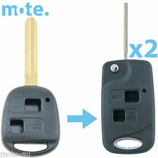 2 x Toyota Prado RAV4 Echo Corolla Remote Car Flip Key Blank 2 Button Shell/Case