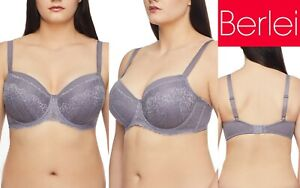 Berlei Luxury Lace Balconette Underwire Bra Grey Lace YYCF Plus Cup Size 18F