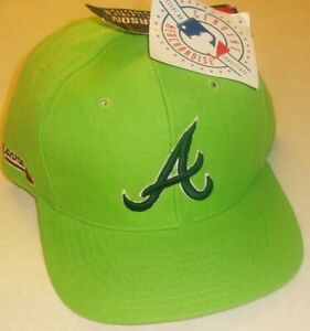 Atlanta Braves Vintage 90s Original Lime Green Adjustable Strapback hat New Mlb