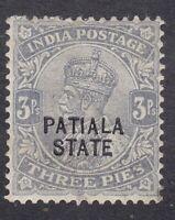 India KGV Patiala - 1912 to 1926 -  3P Grey - SG48  Mint Hinged (E17A)