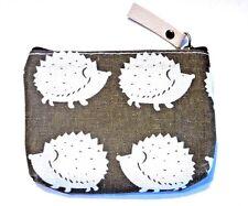 SAGE GREEN HEDGEHOG COIN PURSE linen wallet bag pouch kawaii cute animal new U4