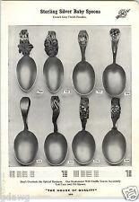 1913 PAPER AD Sterling Silver Silverware Baby Spoon Bunny Rabbit Santa Heron