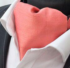 Cravate ascot. 100% soie front uk made. cravat ember pink doupion + match hanky.