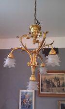 Superbe lustre en bronze de style Louis XV végétal, rocaille vers 1900!!!!