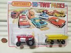 Lesney Matchbox 1976 TP2 RED MOD TRACTOR + YEW HAY TRAILER Two Pack Nu+SealedPkg