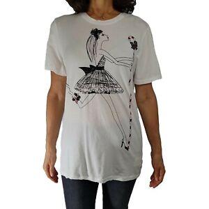 TWELVE x TWELVE LA Sz L (S/M Fit) White Candy Cane Model Print Tshirt Christmas