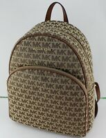 NEW AUTHENTIC MICHAEL KORS ABBEY BROWN JACQUARD LG LARGE BACKPACK HANDBAG WOMENS