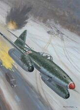 ORIGINAL POSTLETHWAITE WW2 AVIATION ILLUSTRATION COVER ART PAINTING ME-262 WWII