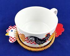 Avon Checkered Chicken Mug and Wicker Coaster Soup Bowl Euc