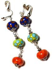 Very Long Colourful Clip-On Earrings Handmade Glass Bead Silver Boho