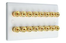 8.0 Audio AV Speaker Wall Face Plate Slimline White Gold 12 Binding Posts