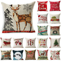 Christmas Cotton Linen Waist Cushion Throw Pillow Case Cover Home Bed Sofa Decor