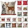 Christmas Cotton Linen Waist Cushion Throw Pillow Case Cover Home Bed Sofa Decor