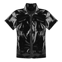 Men's Stretch PVC Short Sleeves Zip Up Bodycon Muscle Tee Shirt Tops Clubwear