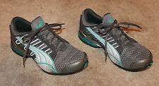 PUMA Ladies' Size 8.5 RUNNING/TRAINING SHOES (gray/blue; slip on w/ laces) EUC