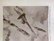 m17a4 ephemera 1920s book plate r a f hurricane destroys italian caproni 135