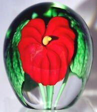 BEAUTIFUL Super Magnum ORIENT & FLUME Anthurium RED Flower Glass PAPERWEIGHT