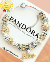 Pandora Charm Bracelet Silver Gold Bangle LOVE STORY with European Charms NEW