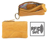 Womens Mustard Yellow Soft leather Coin Pouch Purse Key Holder Chain RFID NEW
