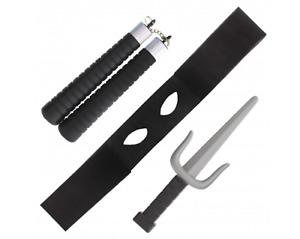 3Pc Ninja Set plastic Sword Nunchuck Eye Mask Arts Fighter Fancy Dress Accessory