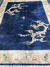 Circa 1950 Mint Art Dico Chinese Dragon Rug hand woven 9x11.9 Feet